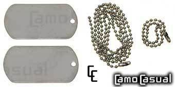 Dog Tag color plata cadena cuello