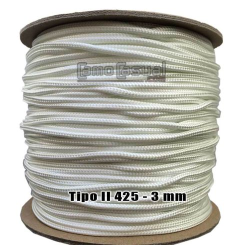 Paracord tipo II 425 blanco - 3mm - 1 metro