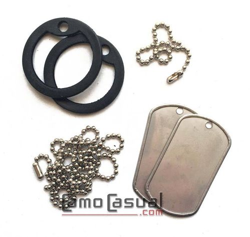 Dog tag original US Army con silenciador negro