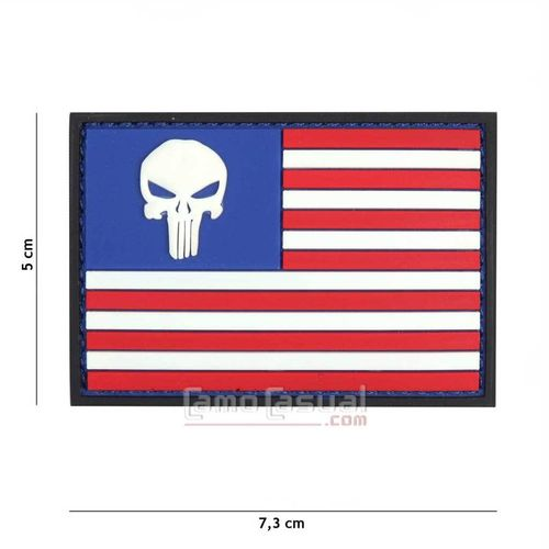 Parche 3D PVC bandera USA punisher color SEAL