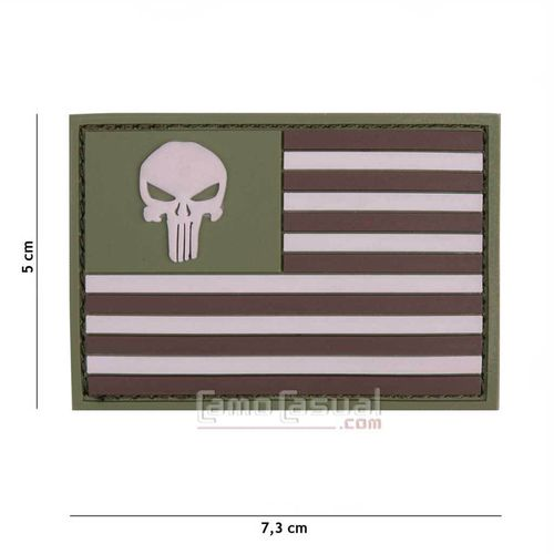 Parche 3D PVC bandera USA punisher multicam