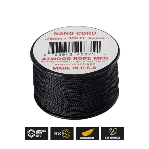 Cuerda Nanocord 0,75 mm negra 90 m (300 feet) Atwood